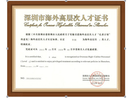 深圳海外高层次人才证书